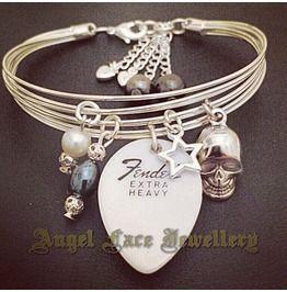 Silver Plated Guitar Strings Bracelet