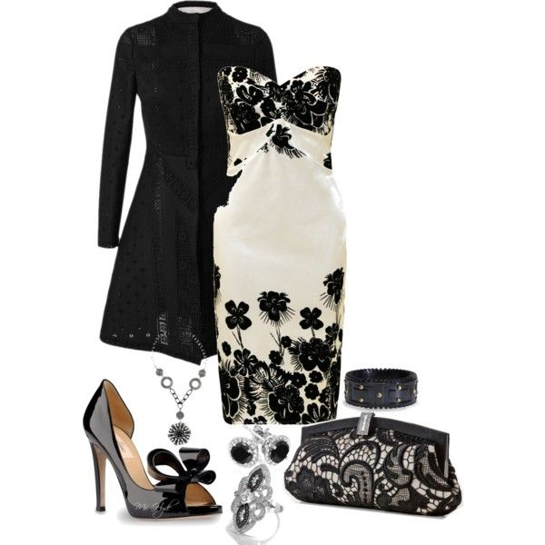 Black & White by mshyde77 on Polyvore featuring Valentino, Gunne Sax By Jessica McClintock and Reeds Jewelers
