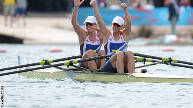 Great Britain's Anna Watkins and Katherine Grainger win gold in the women's double sculls. Grainger is Britain's most successful female rower, with silver medals at each of the three Olympics prior to London. She has waited 12 long years to win Olympic Gold.