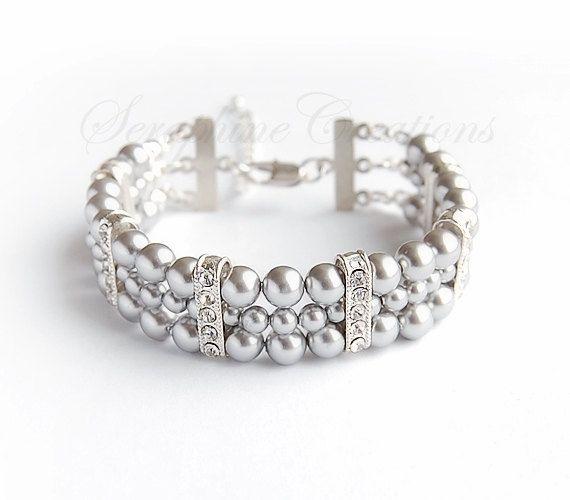 Grey Pearl Bracelet Bridal Bracelet Wedding Jewelry 3 Strand Cuff Bracelet Swarovski Cubic Zirconia Bling Bridesmaid Gift