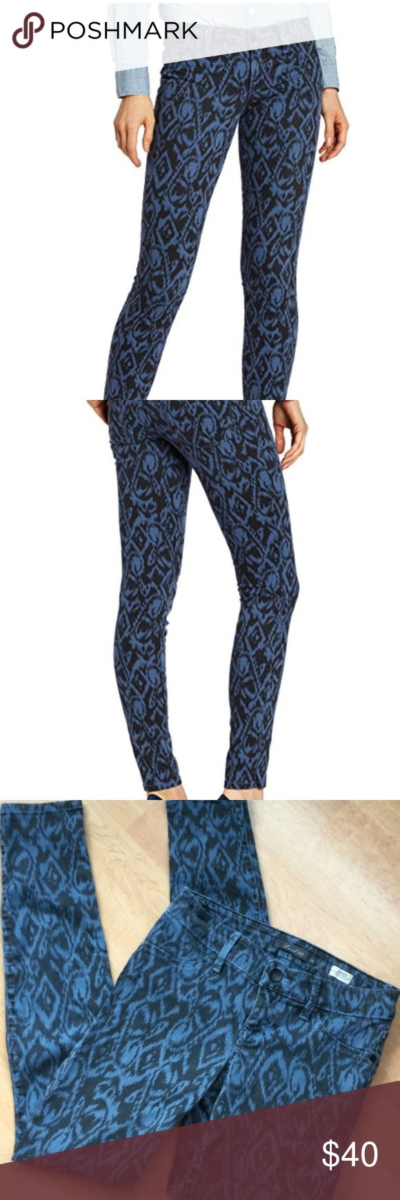 "Level 99 Janice Ultra Skinny ""Macaw"" Jeans SZ 26 Women's size 26 Level 99 Janice Ultra Skinny printed stretchy jeans. Jeans have a fun aztec print pattern. Fabric is a muted blue and black color. Retailed for $110 at Nordstrom.   Measurements  Waist: 13.5 inches  Inseam: 30 inches Rise: 7.5 inches   Fast shipping - same or next business day. Thanks! Level 99 Jeans Skinny"