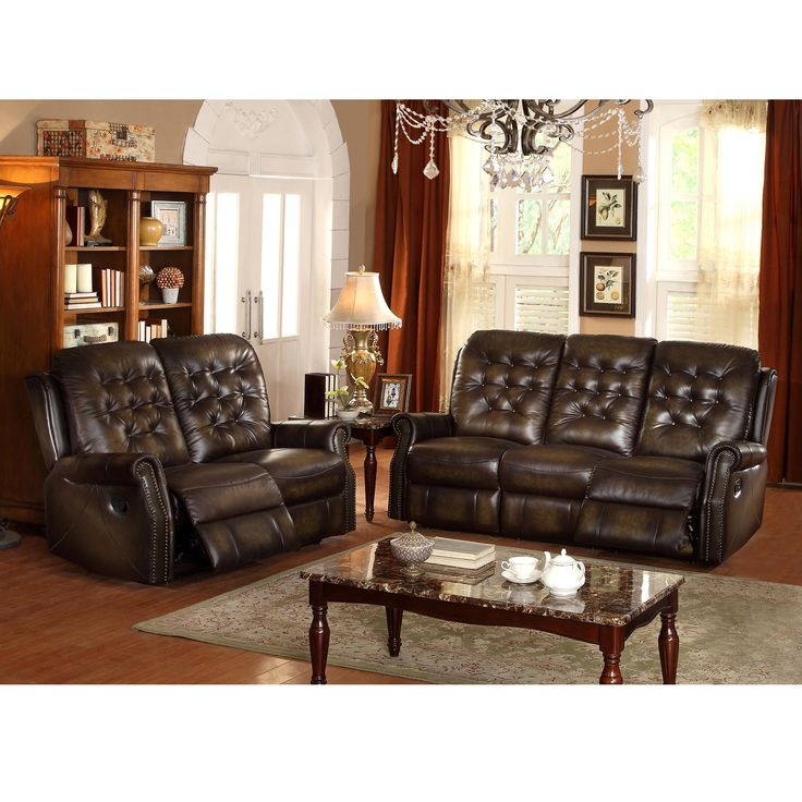 bedford wingback tufted brown top grain leather reclining sofa and loveseat leather living. Black Bedroom Furniture Sets. Home Design Ideas