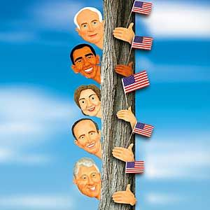 Politician tree huggers Promote your favorite presidential candidate on the campaign stump.