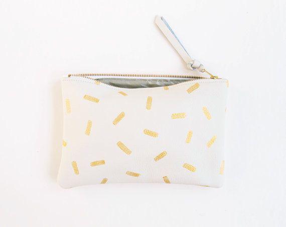 VENTE embrayage de confettis or blanc peint en cuir par kertis