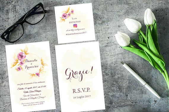 Vintage Floral Wedding Invitation set / Instagram di AYAKAstudio