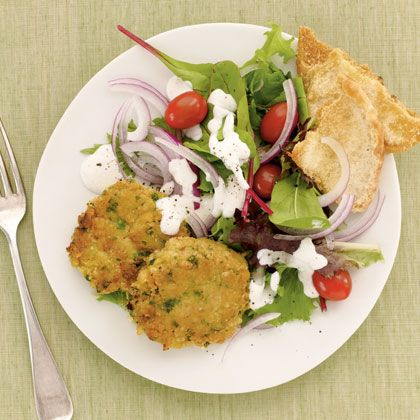 Mediterranean Chickpea Patties---This is easy-to-make and is a light, healthy and delicious when topped with a salad which adds up to a skinny 225 calories. Bonus-chickpeas are the richest vegetarian source of vitamin B6, which helps to metabolize foods, stabilize blood sugar, and make antibodies that fight disease.