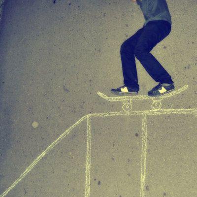 Riding a skateboard sidewalk chalk idea