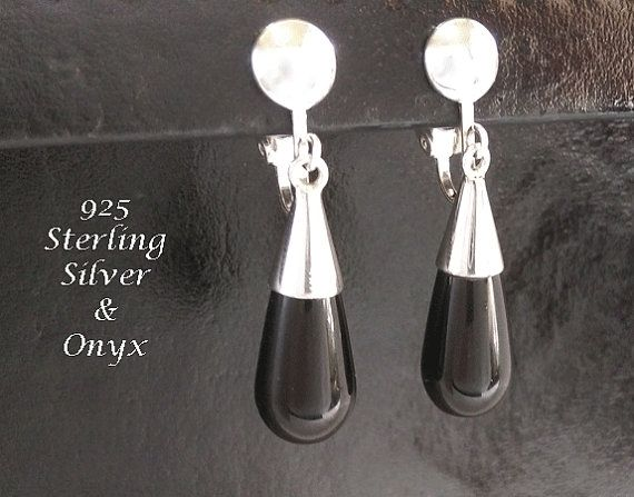 Clip On Earrings: Onyx Gems in these Classy 925 Sterling Silver Clip On Earrings @ https://www.etsy.com/shop/EarringsArtisan and https://www.etsy.com/shop/ClipOnEarringsShop #cliponearrings #sterlingsilvercliponearrings #clipearrings #clip #earrings #silverearrings #silvercliponearrings #clipon