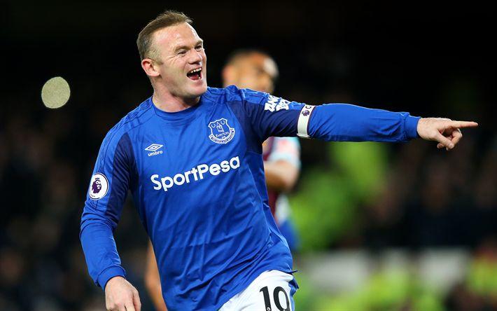 Download wallpapers 4k, Wayne Rooney, goal, footballers, Premier League, Everton, soccer