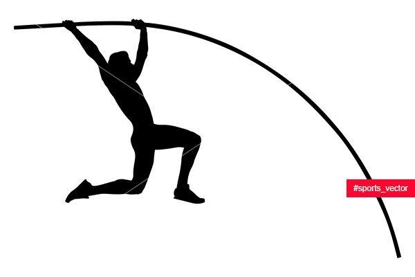 Pole Vault Athlete Jumper Black Silhouette Black Silhouette Pole Vault Athlete