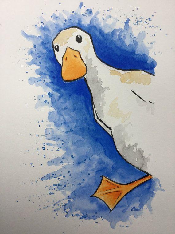 Peeking duck Original watercolour painting by WhimsicolourArt