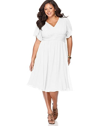 White Empire Waist Plus Size Dresses 101