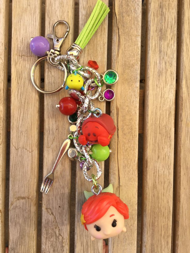 OOAK Disney TsumTsum Little Mermaid Ariel Sebastian and Flounder Inspired Purse Charm / Keychain Kawaii Heart and star charms by DCompany on Etsy