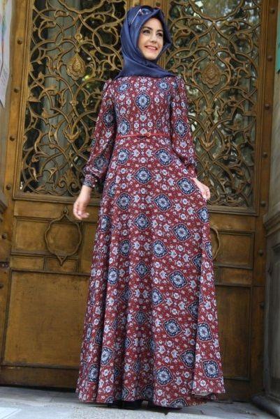 pinar-sems-desenli-tesettur-elbise-modeli