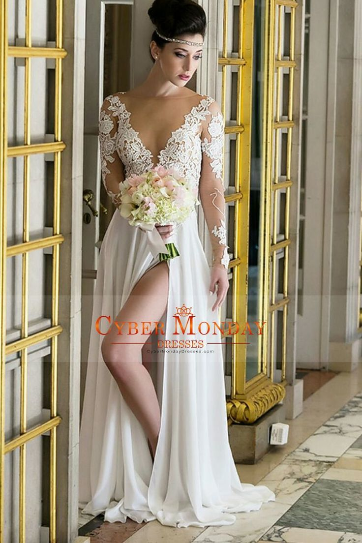 2017 Bateau Long Sleeves Wedding Dresses A Line Chiffon With Applique