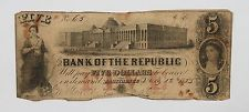 1800s (1833) $5 Obsolete Note Bank of the Republic Providence,Rhode Island /P515