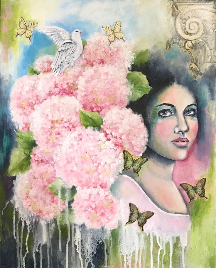 'Adabelle' acrylics and collage on canvas board by Zera Derrig