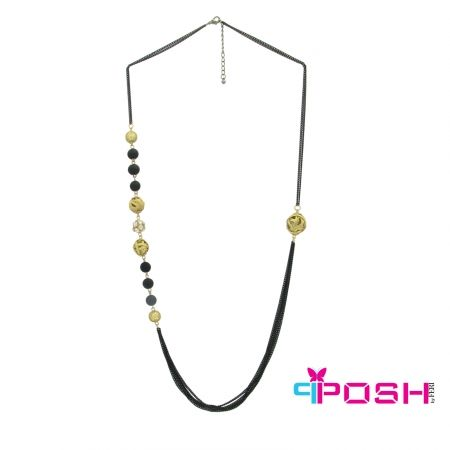 """Sonia - Necklace - Chains with non-symmetrical beauty necklace - Black and gold colour - Dimension: 33.46"""" + 1.97"""" extending chain  POSH by FERI - Passion for Fashion - Luxury fashion jewelry for the designer in you. #networking #direct #sales #fashion #designer  #brand #onlineshopping #workingfromhome #necklace #accesories"""