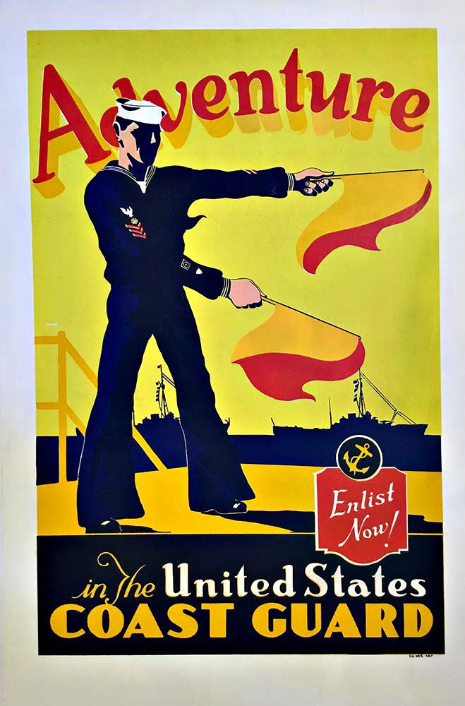 """www.TheVintagePoster.com  Adventure in the Unites States Coast Guard Enlist Now Original WWII Recruiting Poster.   Size:  28"""" x 42""""."""
