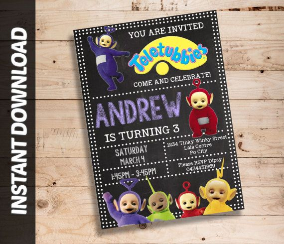 Teletubbies Editable Invitation Instant Download by ShorttDesigns