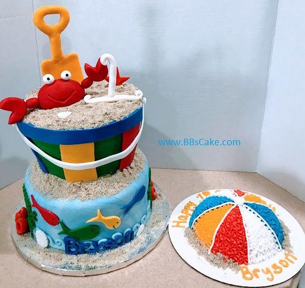 2 Tier Beach Theme Bucket And Shovel Birthday Cake With Beach Ball