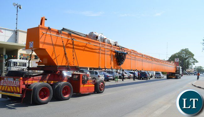 Abnormal load-mining equipment passing through Choma