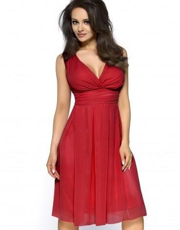 Sukienka z szyfonu kopertowy dekolt KM117-3 Czerwona na wesele w sklepie PlanetAP