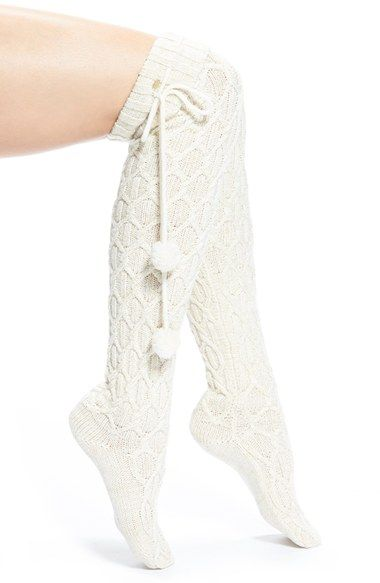 Free shipping and returns on UGG® Australia Pompom Cable Knit Over the Knee Socks at Nordstrom.com. Sparkly threads intertwine with cozy cable-knit patterns on these stylish over-the-knee socks finished with festive pompom-tipped ties.