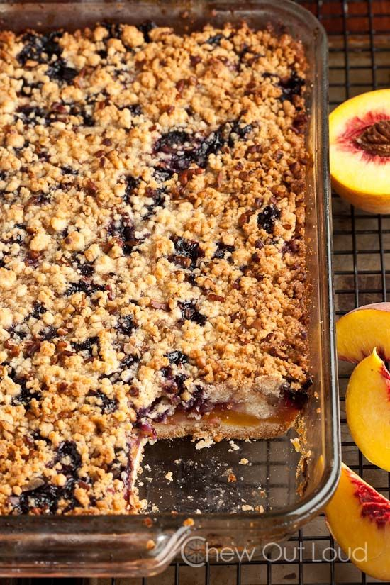 Peach 'n Blueberry Crumb Bars - The best way to use up peaches and berries!
