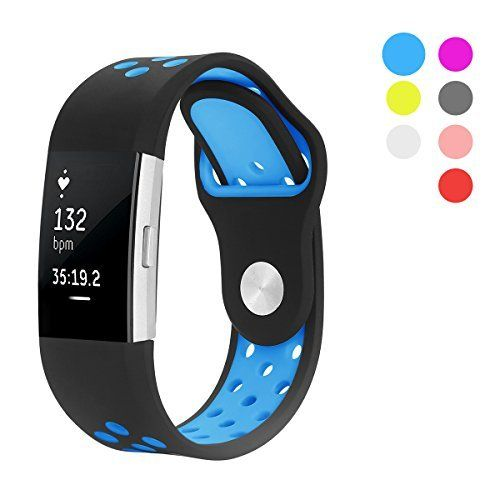 Hanlesi Colorful Fitbit Charge 2 Replacement Band , Enjoy The Colorful Every Day LIGHT+FLEXIBLE+BREATHABLE  Using high quality silicone material, lightweight and durable. A row of fine air holes, not only to reduce the weight, but also improve the breathable. FLEXIBLE ADJUSTMENT Multi-holes...