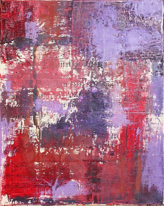 Esto es un 16 x 20 pulgadas pedazo de técnica mixta sobre lienzo estirado. La primera capa es un collage de la vieja música de la hoja. Luego he pintado varias capas de pintura de aceite sobre el collage utilizando cuchillos de paleta. Los colores que utilizaba eran diferentes tonos de rojo y púrpura.