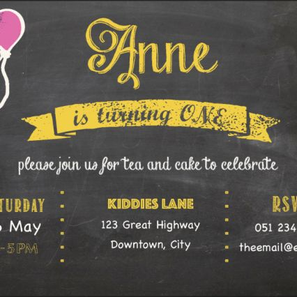 First Birthday invitation on chalkboard with balloon details. Theme colour used in this sample is yellow. Refer to the colour swatch for other colour options.