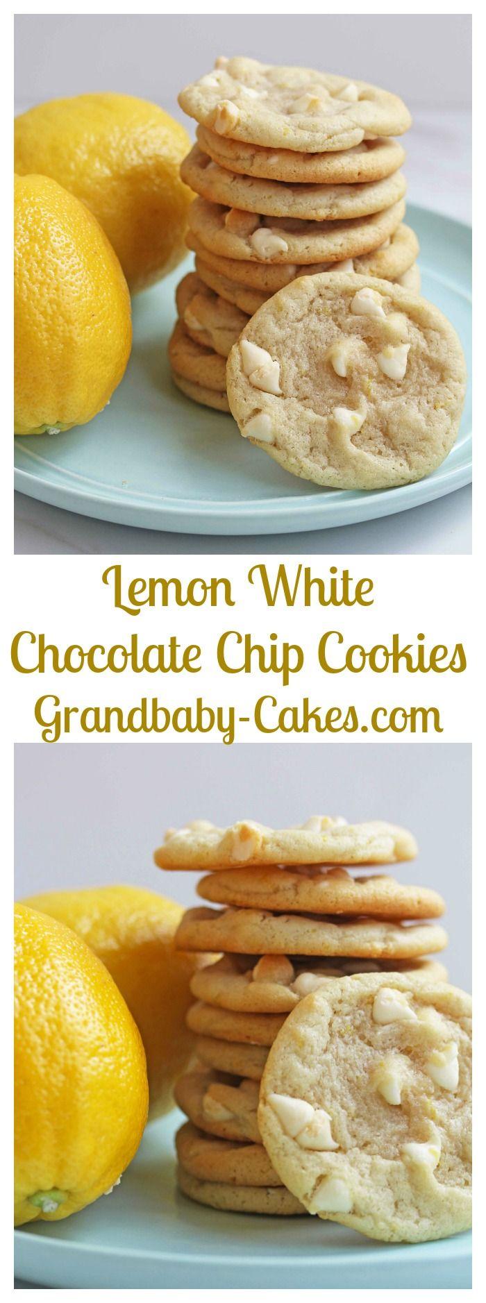 Lemon White Chocolate Chip Cookies | Grandbaby-Cakes.com