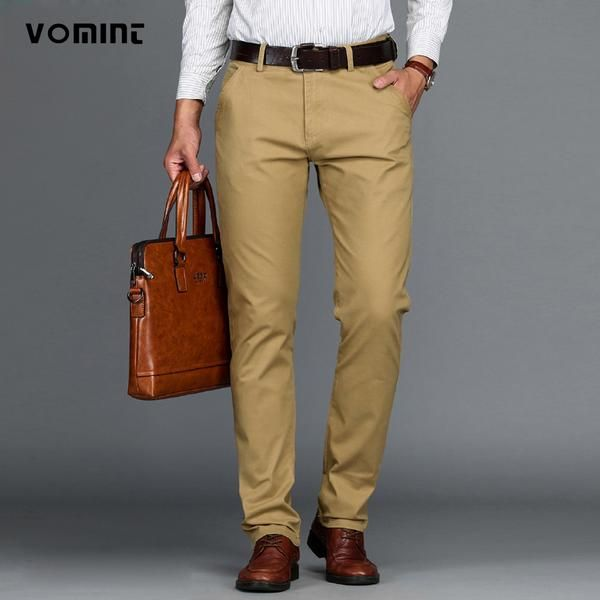 VOMINT New Arrival Mens Casual Business Pant Stretch trousers regular Straight Pant Black Blue Khaki Big Size 42 44 46 worksuit