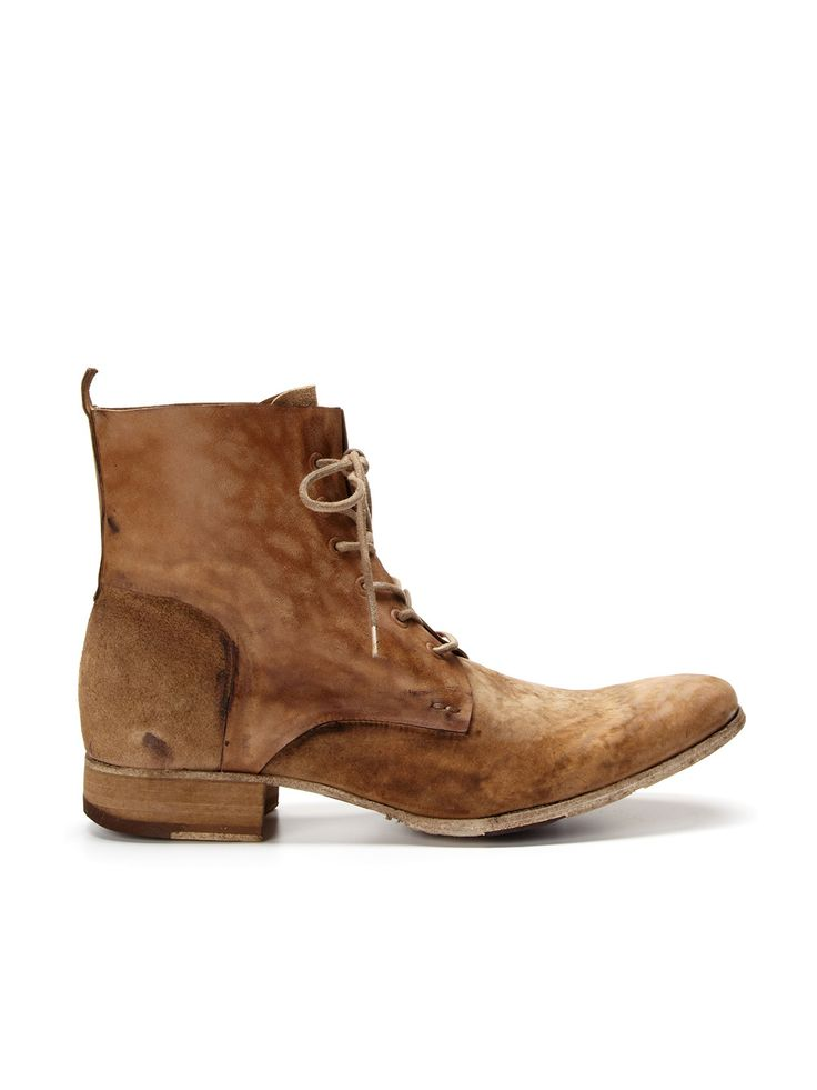 Handmade washed vintage leather military boots with hand burnishing, long toe box, back heel pull tab & waxed canvas laces