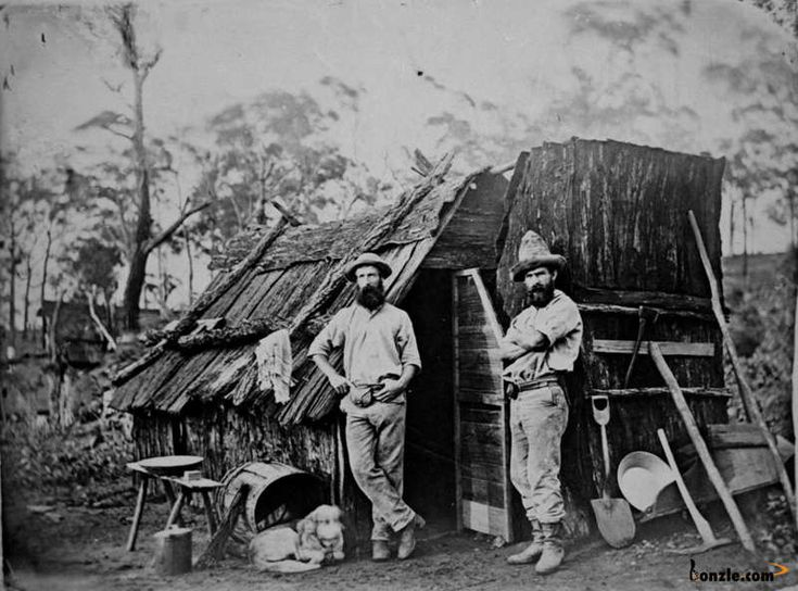 Image Size:      small      medium      large  Gold miners outside a bark hut, Queensland, ca. 1870    Gold miners outside a bark hut, Queensland, ca. 1870