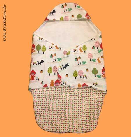 Anleitung: Einschlagdecke nähen für den Maxi Cosi bzw. für eine Babyschale mit warmen Fusssack und Mützchen. Kuschelig warm für die Kleinen.