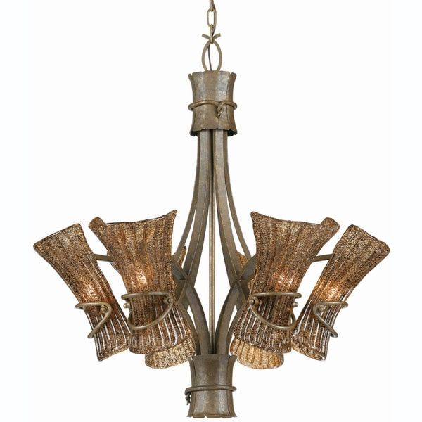 Tropical Pendant Lighting Bali 6 Light Breeze Finish Chandelier Free Shipping Today