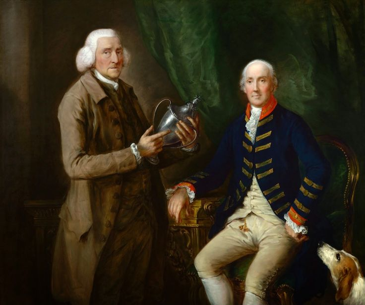 Thomas Gainsborough - Portrait of William Anne Hollis Presenting a Cup to Thomas Clutterbuck [c.1784-85]  #18th #Classic #Painting #Portrait #Thomas #Gainsborough