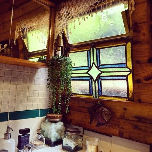 Made a new bathroom window for my narrow boat #stained glass  http://emilygincat.tumblr.com/