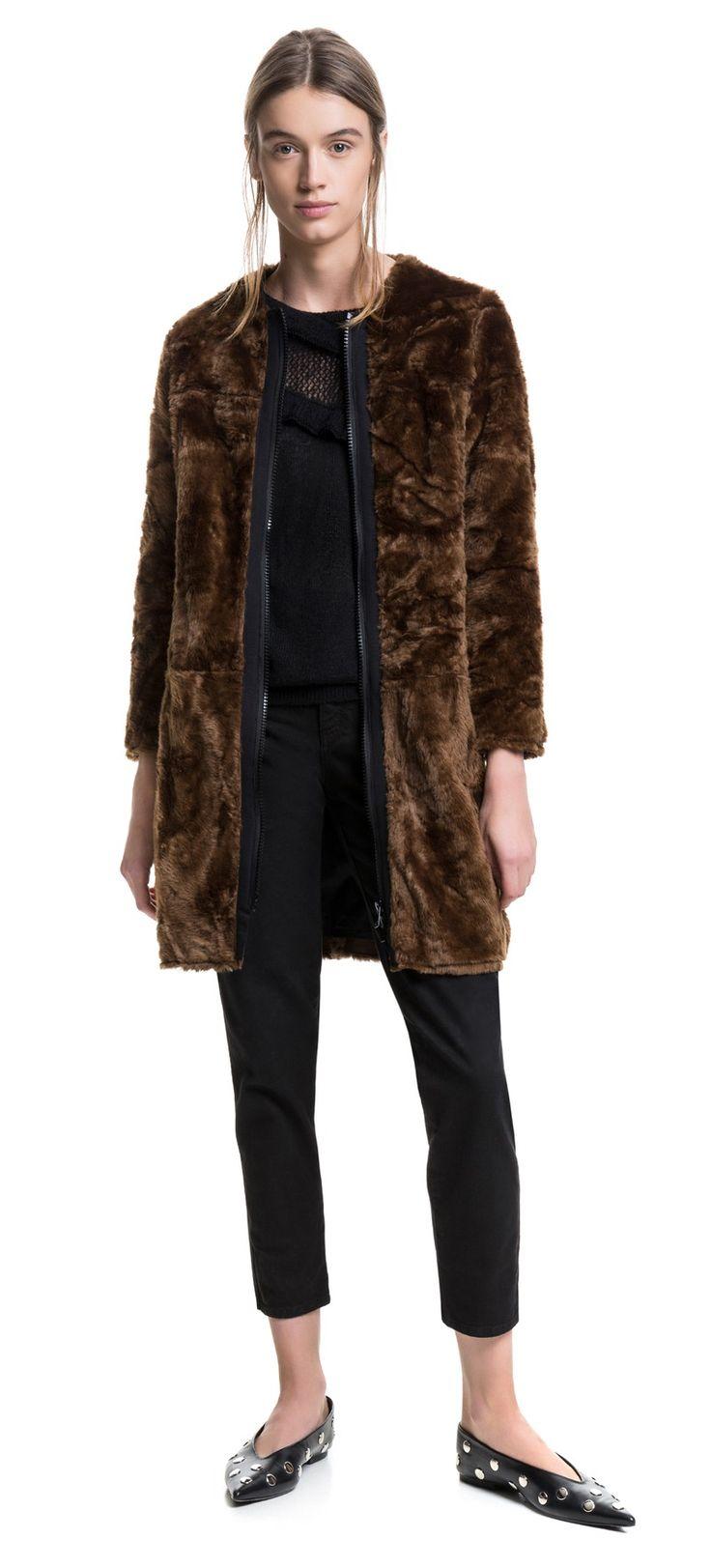 BIMBA Y LOLA Abrigo marrón pelo