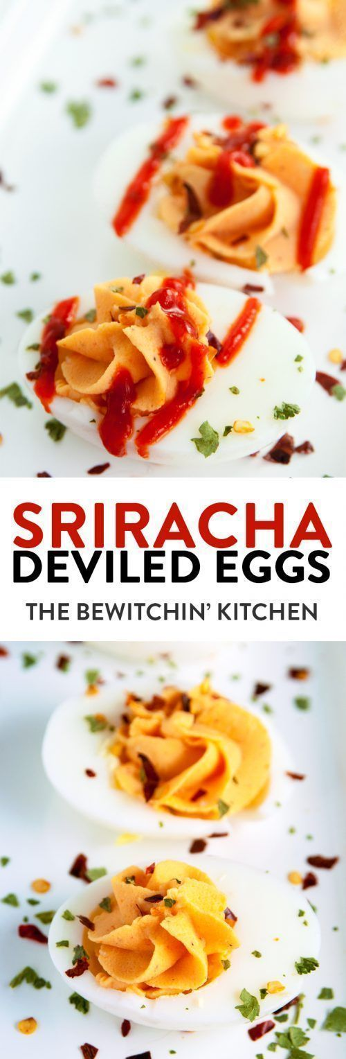Sriracha Deviled Eggs - these yummy appetizers are so easy to make and are a party hit. This spicy 21 Day Fix approved recipe is a high protein snack.