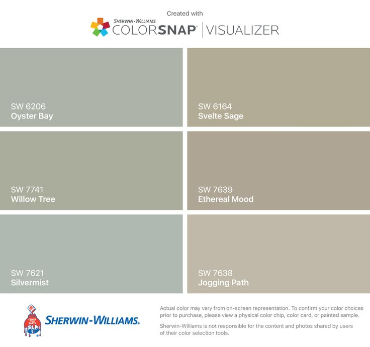 I found these colors with ColorSnap® Visualizer for iPhone by Sherwin-Williams: Oyster Bay (SW 6206), Willow Tree (SW 7741), Silvermist (SW 7621), Svelte Sage (SW 6164), Ethereal Mood (SW 7639), Jogging Path (SW 7638).