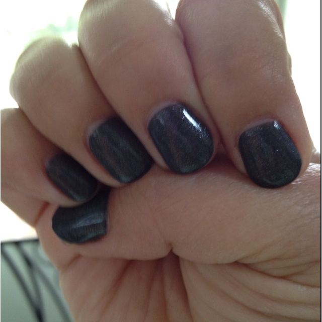 new mani from Carlos at The Junction, Raleigh, NC. colors: Shellac Asphalt and Silver VIP Status