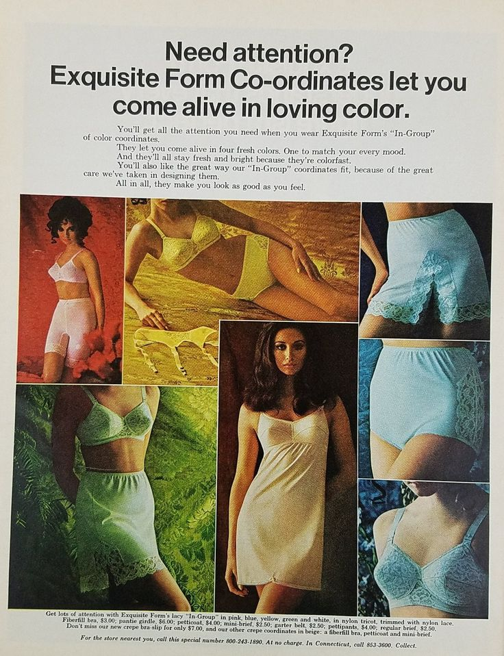 1969 Exquisite Form Vintage Ad - Bra Panties Slips In Group Color Coordinates