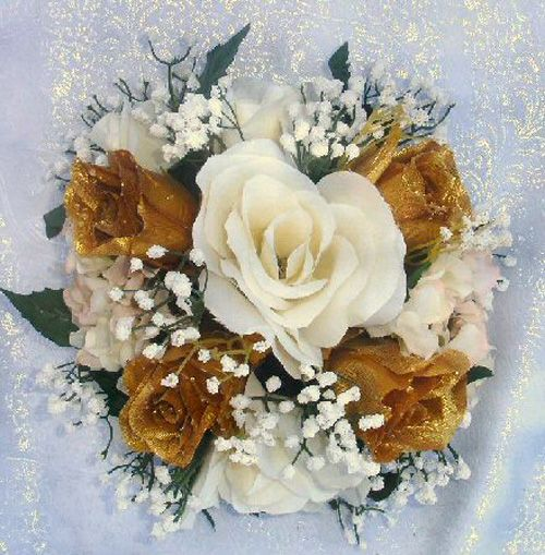 Flower Arrangements For 50th Wedding Anniversary: CAKE TOPPERS TOPS GOLD Silk Wedding Flowers Faux