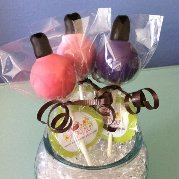 Nail Polish cake pops!  These would be adorable for a spa themed party.