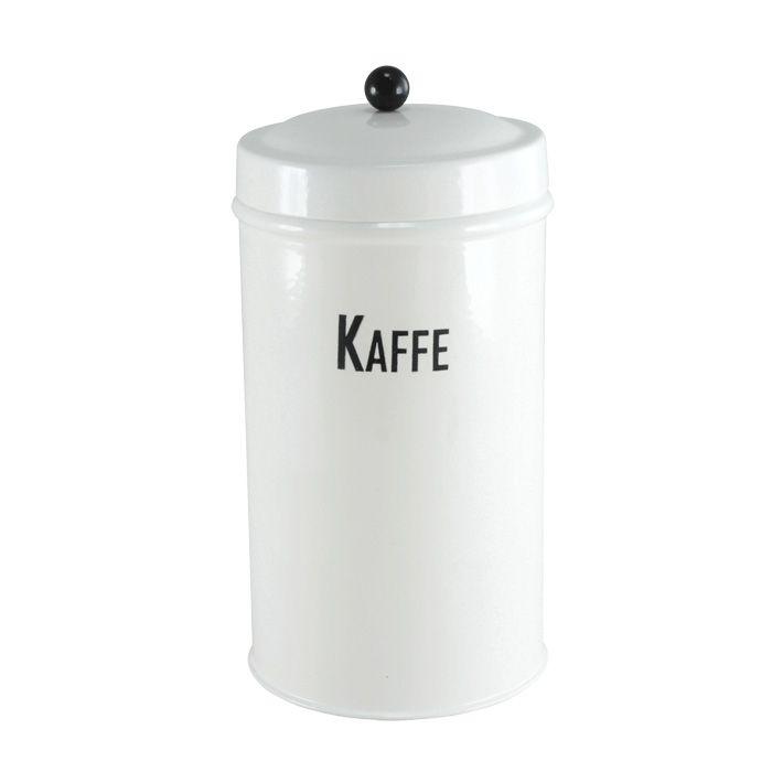 Plåtburk svart/vit kaffe