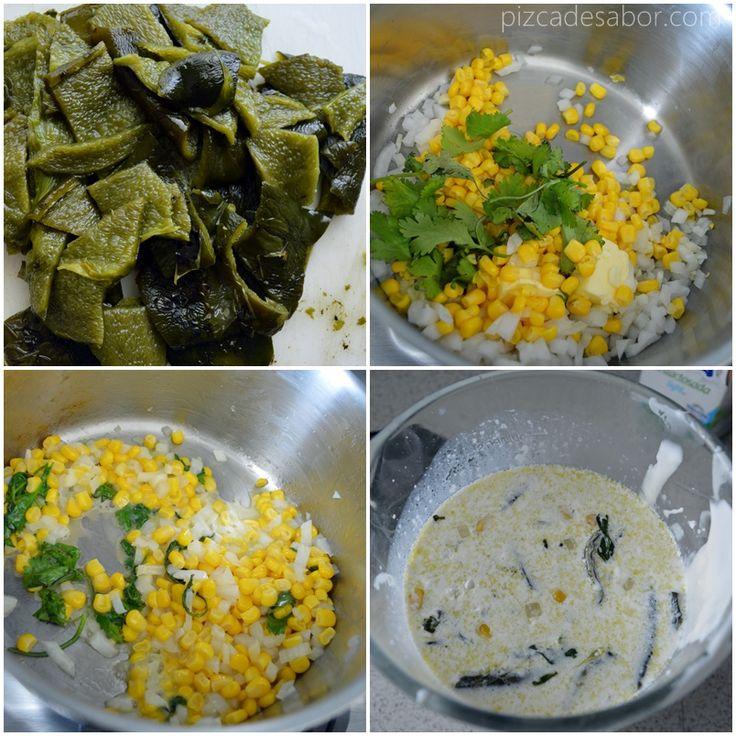 Pasta con salsa de chile poblano y elote   http://www.pizcadesabor.com/2013/09/23/pasta-con-salsa-de-chile-poblano-y-elote/