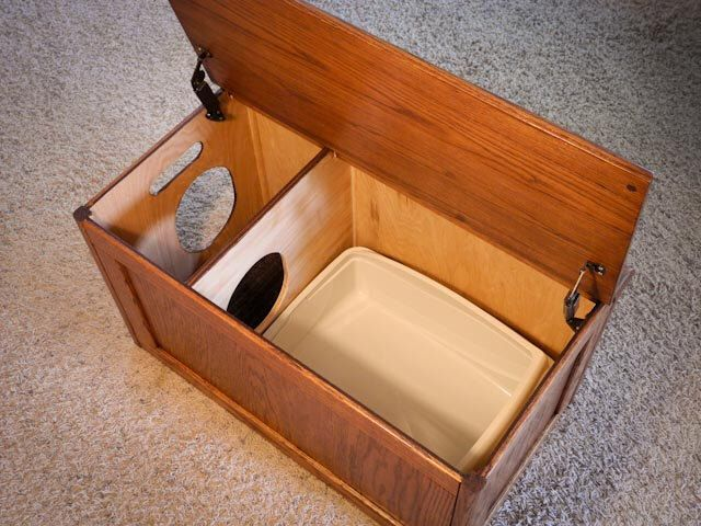 Oak Cat Litter Box Cover by ProjectServices on Etsy https://www.etsy.com/listing/205269619/oak-cat-litter-box-cover